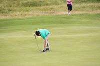 Sean Doyle (Athlone) on the 14th green during Round 3 of The South of Ireland in Lahinch Golf Club on Monday 28th July 2014.<br /> Picture:  Thos Caffrey / www.golffile.ie