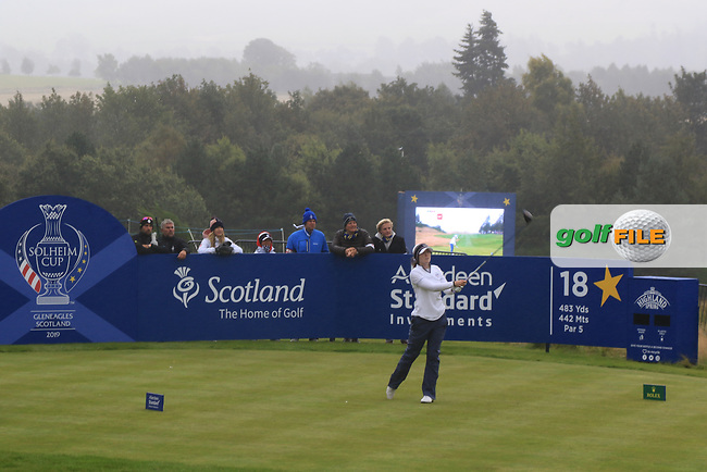 Brittany Altomare of Team USA on the 18th tee during Day 2 Fourball at the Solheim Cup 2019, Gleneagles Golf CLub, Auchterarder, Perthshire, Scotland. 14/09/2019.<br /> Picture Thos Caffrey / Golffile.ie<br /> <br /> All photo usage must carry mandatory copyright credit (© Golffile | Thos Caffrey)