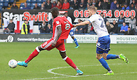 Milton Keynes Dons' Ousseynou Cisse shirt being grabbed by Bury's Michael Smith<br /> <br /> Photographer Juel Miah/CameraSport<br /> <br /> The EFL Sky Bet League One - Bury v Milton Keynes Dons - Saturday 30th September 2017 - Gigg Lane - Bury<br /> <br /> World Copyright &copy; 2017 CameraSport. All rights reserved. 43 Linden Ave. Countesthorpe. Leicester. England. LE8 5PG - Tel: +44 (0) 116 277 4147 - admin@camerasport.com - www.camerasport.com