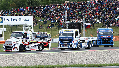3rd September 2017, Most Racing Track, Most, Czech Republic; FIA European Truck Racing Championship; 3rd race, wrm-up lap, from left Adam LACKO (CZ/Freightliner/Buggyra International Racing System), Jochen HAHN (GER/Iveco/Team Hahn Racing), Stephanie HALM (GER/MAN/Reinert Racing)