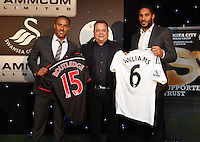 Pictured: Wayne Routledge and Ashley Williams with sponsor Wednesday 20 May 2015<br /> Re: Swansea City FC Awards Dinner at the Liberty Stadium, south Wales, UK