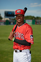 Batavia Muckdogs Dalvy Rosario (17) poses for a photo before a NY-Penn League game against the West Virginia Black Bears on June 26, 2019 at Dwyer Stadium in Batavia, New York.  Batavia defeated West Virginia 4-2.  (Mike Janes/Four Seam Images)