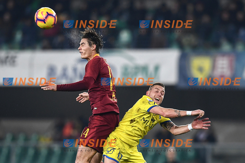 Patrik Schick of AS Roma , Emanuele Giaccherini of AC Chievo Verona <br /> Verona 8-2-2019 Stadio Bentegodi Football Serie A 2018/2019 Chievo Verona - AS Roma <br /> Foto Andrea Staccioli / Insidefoto