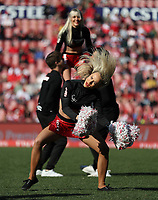 Cheerleaders perform during the Super Rugby quarter-final match between the Emirates Lions and the Jaguares at the Emirates Airlines Park Stadium,Johannesburg, South Africa on Saturday, 21 July 2018. Photo: Steve Haag / stevehaagsports.com