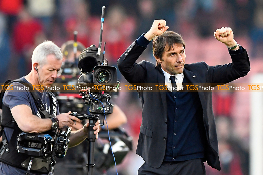 Chelsea Manager Antonio Conte celebrates with the travelling Chelsea fans at the end of the match during AFC Bournemouth vs Chelsea, Premier League Football at the Vitality Stadium on 8th April 2017