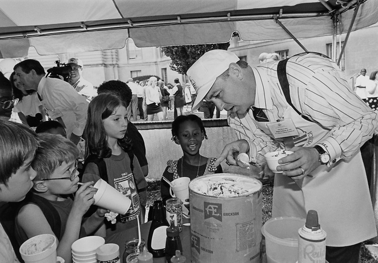 Rep. Matt Salmon, R-Ariz., serving ice cream to kids on Capitol Hill. He worked at an ice cream store when he was 16 years old. June 19, 1997. (Photo by Maureen Keating/CQ Roll Call)