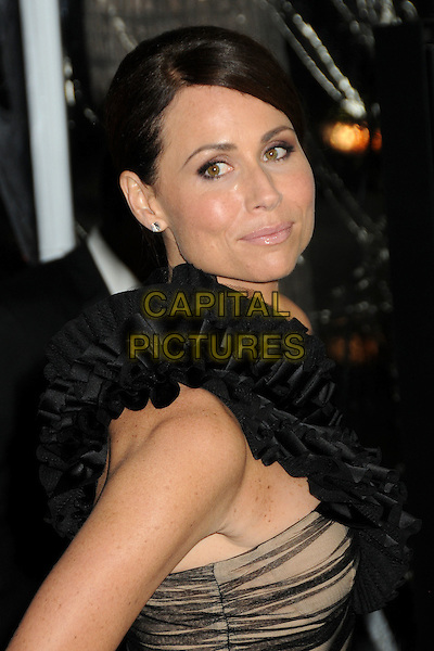 "MINNIE DRIVER .""Conviction"" Los Angeles Premiere held at the Samuel Goldwyn Theater, Beverly Hills, California, USA, October 5th 2010..portrait headshot black ruffle one shoulder strap make-up beauty diamond stud earrings side .CAP/ADM/BP.©Byron Purvis/AdMedia/Capital Pictures."