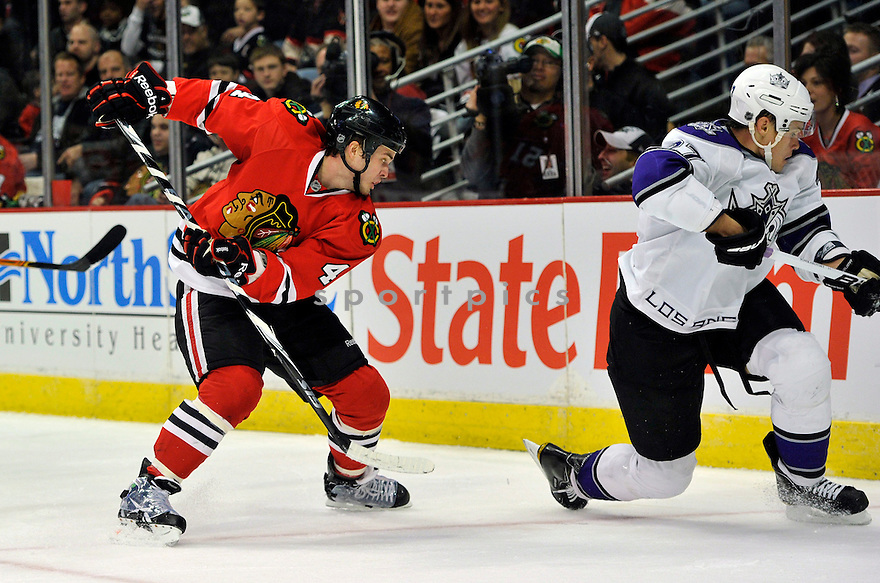 NICKLAS HJALMARSSON,  of the Chicago Blackhawks  in action  during the Blackhawks game against the Los Angeles Kings at the United Center in Chicago, IL.  The Chicago Blackhawks beat the Los Angeles Kings 3-2 in Chicago, Illinois on December 19, 2010....