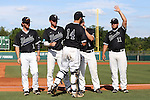 28 May 2016: Nova Southeastern's Jake Anchia (14), Andrew Liberty (1), Jacob Blackiston (4), Steven Fleming (9), and Devin Raftery (11) are introduced before the game. The Nova Southeastern University Sharks played the Franklin Pierce University Ravens in Game 3 of the 2016 NCAA Division II College World Series  at Coleman Field at the USA Baseball National Training Complex in Cary, North Carolina. Nova Southeastern won the game 4-3 in twelve innings.