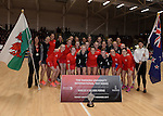 Wales and New Zealand pose for photographs  <br /> <br /> Swansea University International Netball Test Series: Wales v New Zealand<br /> Ice Arena Wales<br /> 08.02.17<br /> &copy;Ian Cook - Sportingwales