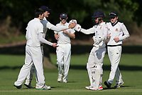 Hutton players celebrate a wicket during Hutton CC vs Gidea Park and Romford CC, Shepherd Neame Essex League Cricket at the Polo Field on 11th May 2019