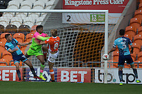 Brad Potts of Blackpool heads the ball wide during the Sky Bet League 2 match between Blackpool and Wycombe Wanderers at Bloomfield Road, Blackpool, England on 20 August 2016. Photo by James Williamson / PRiME Media Images.