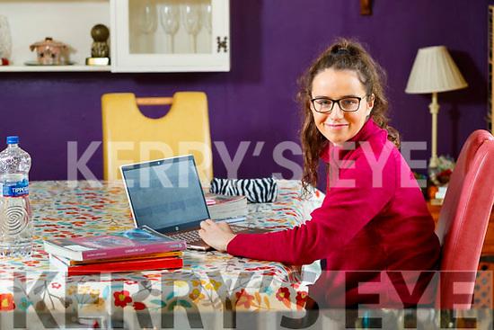 Mercy Mounthawk student Rachel Ryan studing at home using Google Classroom on Tuesday.