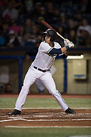 Hillsboro Hops right fielder William Gorman (7) at bat during a Northwest League game against the Salem-Keizer Volcanoes at Ron Tonkin Field on September 1, 2018 in Hillsboro, Oregon. The Salem-Keizer Volcanoes defeated the Hillsboro Hops by a score of 3-1. (Zachary Lucy/Four Seam Images)