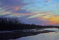 The sky is banded with the last light of sunset over the Platte River in Buffalo County, Nebraska
