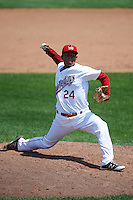 Auburn Doubledays relief pitcher Steven Fuentes (24) during a game against the Vermont Lake Monsters on July 13, 2016 at Falcon Park in Auburn, New York.  Auburn defeated Vermont 8-4.  (Mike Janes/Four Seam Images)