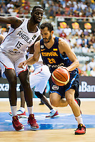 Spain's basketball player Pau Ribas and Angola's basketball player Valdelicio Joaquim during the first match of the preparation for the Rio Olympic Game at Coliseum Burgos. July 12, 2016. (ALTERPHOTOS/BorjaB.Hojas)