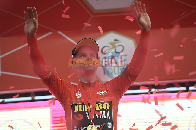 Race leader Primoz Roglic (SLO) Team Jumbo-Visma retains the Red Jersey on the podium at the end of Stage 5 of the 2019 UAE Tour, running 181km form Sharjah to Khor Fakkan, Dubai, United Arab Emirates. 28th February 2019.<br /> Picture: LaPresse/Fabio Ferrari | Cyclefile<br /> <br /> <br /> All photos usage must carry mandatory copyright credit (© Cyclefile | LaPresse/Fabio Ferrari)