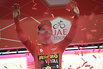 Race leader Primoz Roglic (SLO) Team Jumbo-Visma retains the Red Jersey on the podium at the end of Stage 5 of the 2019 UAE Tour, running 181km form Sharjah to Khor Fakkan, Dubai, United Arab Emirates. 28th February 2019.<br /> Picture: LaPresse/Fabio Ferrari | Cyclefile<br /> <br /> <br /> All photos usage must carry mandatory copyright credit (&copy; Cyclefile | LaPresse/Fabio Ferrari)