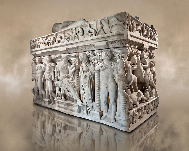 Sidamara Sarcophagus,  a 2nd century marble Roman sarcophagus from Ambararasi (Konya) Turkey. Istanbul Archaeology Museum, Inv 1179T Cat. Mendel 112.