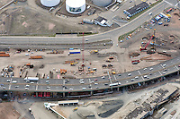 "Early Eastbound Approach Construction, Pearl Harbor Memorial ""Q"" Bridge, just east of Interstate I-95 I-91 CT Route 34 Interchanges. Surface road Water Street/Forbes Avenue at top. Details of approaches, overpasses, ramps & roadway near or within I-95 New Haven Harbor Crossing Corridor projects confines. Photography taken at the beginning of Contract B1 & E1"