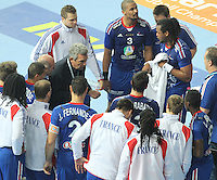 18.01.2013 Barcelona, Spain. IHF men's world championship, prelimanary round. Picture show france team at time out during game between France vs Germany at Palau St Jordi