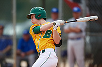 North Dakota State Bison second baseman Drew Fearing (14) at bat during a game against the Central Connecticut State Blue Devils on February 23, 2018 at North Charlotte Regional Park in Port Charlotte, Florida.  North Dakota State defeated Connecticut State 2-0.  (Mike Janes/Four Seam Images)