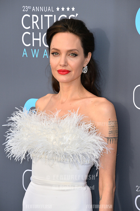 Angelina Jolie at the 23rd Annual Critics' Choice Awards at Barker Hangar, Santa Monica, USA 11 Jan. 2018<br /> Picture: Paul Smith/Featureflash/SilverHub 0208 004 5359 sales@silverhubmedia.com