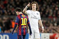 FC Barcelona's Leo Messi (l) and Paris Saint-Germain's David Luiz during Champions League 2014/2015 match.December 10,2014. (ALTERPHOTOS/Acero) /NortePhoto