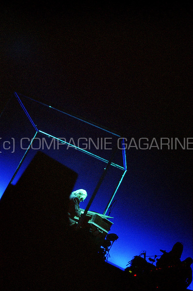 concert of the French singer Christophe at the Olympia theatre in Paris after 27 years of absence on stage (France, 10/03/2002)