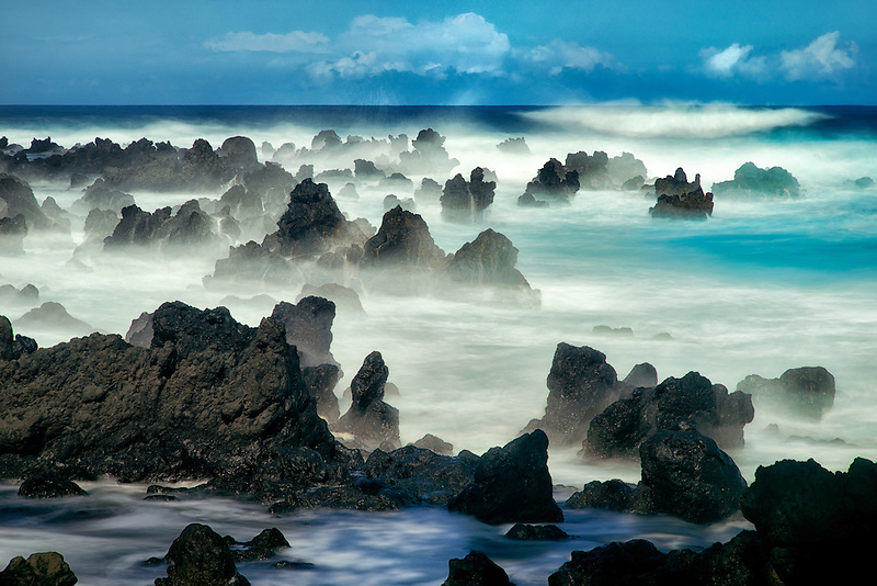 Volcanic seastacks with waves, Maui, Hawaii