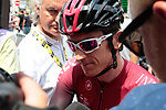 Geraint Thomas (WAL) Team Ineos at sign on before the start of Stage 14 of the 2019 Tour de France running 117.5km from Tarbes to Tourmalet Bareges, France. 20th July 2019.<br /> Picture: Colin Flockton | Cyclefile<br /> All photos usage must carry mandatory copyright credit (© Cyclefile | Colin Flockton)
