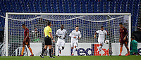 Calcio, Europa League, Gguppo E: Roma vs Austria Vienna. Roma, stadio Olimpico, 20 ottobre 2016.<br /> Austria Wien's Dominik Prokop, center, reacts after scoring during the Europa League Group E soccer match between Roma and Austria Wien, at Rome's Olympic stadium, 20 October 2016. The game ended 3-3.<br /> UPDATE IMAGES PRESS/Isabella Bonotto