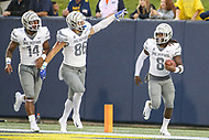 Annapolis, MD - September 8, 2018: Memphis Tigers running back Darrell Henderson (8) celebrates after scoring a touchdown during the game between Memphis and Navy at  Navy-Marine Corps Memorial Stadium in Annapolis, MD.   (Photo by Elliott Brown/Media Images International)