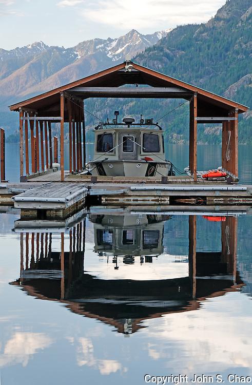 National Park Service Patrol Boat docked in Stehekin on Lake Chelan, North Cascades National Park, Washington State