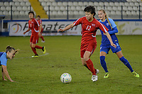 20190304 - LARNACA , CYPRUS : North Korean midfielder Kim Yun-mi pictured during a women's soccer game between Finland and Korea DPR , on Monday 4 March 2019 at the Antonis Papadopoulos Stadium in Larnaca , Cyprus . This is the third game in group A for Both teams during the Cyprus Womens Cup 2019 , a prestigious women soccer tournament as a preparation on the Uefa Women's Euro 2021 qualification duels. PHOTO SPORTPIX.BE | STIJN AUDOOREN