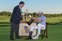 Corey Conners (CAN) dons the Cowboy boots presented by the Chairman of Valero for winning the Valero Texas Open, at the TPC San Antonio Oaks Course, San Antonio, Texas, USA. 4/7/2019.<br /> Picture: Golffile | Ken Murray<br /> <br /> <br /> All photo usage must carry mandatory copyright credit (© Golffile | Ken Murray)