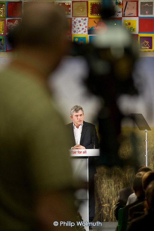 Gordon Brown, launch of Labour's Green Manifesto, Westminster Academy, Labour General Election Campaign, London