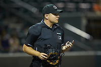 Home plate umpire Isaias Barba during the Carolina League game between the Frederick Keys and the Winston-Salem Dash at BB&T Ballpark on July 26, 2018 in Winston-Salem, North Carolina. The Keys defeated the Dash 6-1. (Brian Westerholt/Four Seam Images)