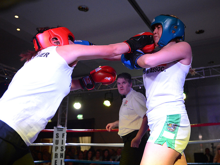 Donna Dunne Clogherhead Dreadnots and Maeve Kavanagh St Feckins who took part in the White Collar Boxing in City North Hotel. Photo:Colin Bell/pressphotos.ie
