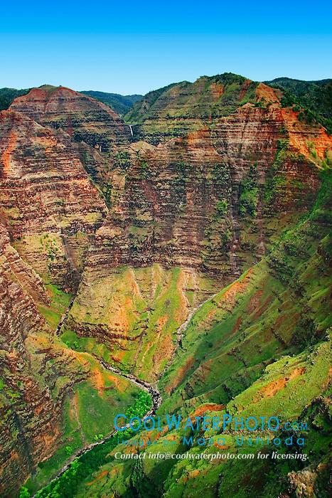 Waimea Canyon, Wai`alae or Waialae Falls at distance, Kauai, Hawaii