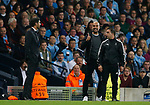 Josep Guardiola manager of Manchester City exchanges words with Paulo Fonseca manager of Shaktar Donetsk during the Champions League Group F match at the Emirates Stadium, Manchester. Picture date: September 26th 2017. Picture credit should read: Andrew Yates/Sportimage