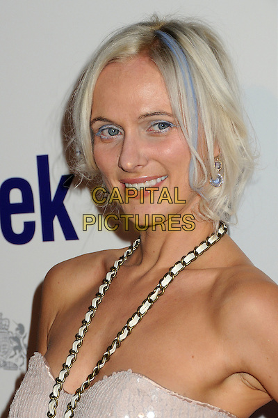 Dominika Juillet.BritWeek 2012 Official Launch held at a Private Residence, Los Angeles, California, USA..April 24th, 2012.headshot portrait gold chain blue streak dyed hair strapless necklace   .CAP/ADM/BP.©Byron Purvis/AdMedia/Capital Pictures.