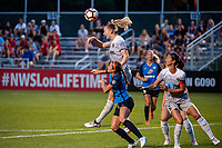 Kansas City, MO - Saturday July 22, 2017: Samantha Mewis, Shea Groom, Abby Erceg during a regular season National Women's Soccer League (NWSL) match between FC Kansas City and the North Carolina Courage at Children's Mercy Victory Field.