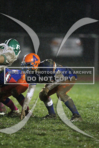 Pembroke Dragons varsity football against the Attica Blue Devils during the Section V Class-C Quarterfinals at Attica High School on October 21, 2011 in Attica, New York.  (Copyright Mike Janes Photography)