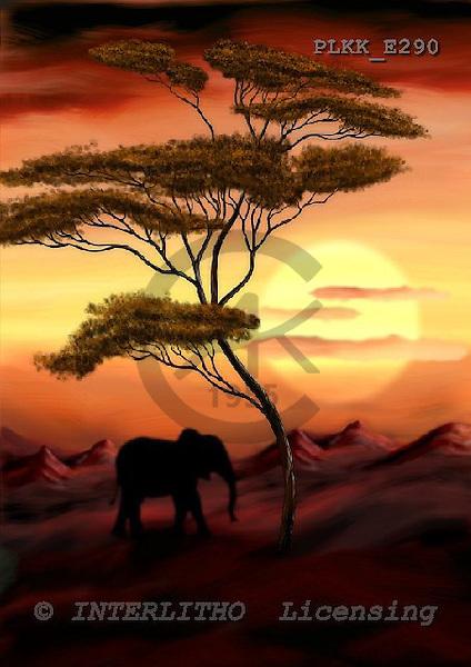 Kris, ETHNIC, paintings,+elephant, savanna++++,PLKKE290,#ethnic# étnico, illustrations, pinturas