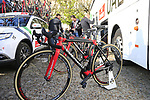 UAE Team Emirates Colnago C60 bikes lined up outside the team bus at sign on for the 115th edition of the Paris-Roubaix 2017 race running 257km Compiegne to Roubaix, France. 9th April 2017.<br /> Picture: Eoin Clarke | Cyclefile<br /> <br /> <br /> All photos usage must carry mandatory copyright credit (&copy; Cyclefile | Eoin Clarke)
