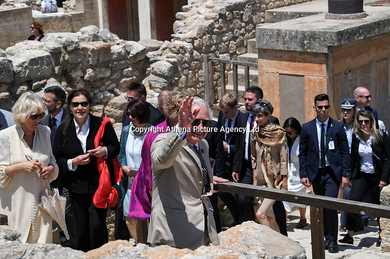 Pictured: Prince Charles waves during his visit to Knossos on the island of Crete, Greece. Friday 11 May 2018 <br /> Re:HRH Prnce Charles and his wife the Duchess of Cornwall visit the ancient site of Knossos near Heraklion, Greece.