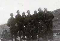 BNPS.co.uk (01202 558833)<br /> Pic: HannBooks/BNPS<br /> <br /> PICTURED:  Paratrooper, Stanley Hann  (back row, third right) with his SAS party deep behind enemy lines.<br /> <br /> Remarkable photos taken deep behind enemy lines by an SAS unit during a daring wartime operation have come to light on the 75th anniversary of the mission. <br />  <br /> The little-known Operation Galia on the 27th December 1944 involved just 33 SAS men hoodwinking the Nazis and their fascist allies into thinking a much greater force had landed behind them in Italy in December 1944.<br />  <br /> Adolf Hitler's forces had just launched a major surprise offensive in the Ardennes Forest in Belgium that became known as the Battle of the Bulge.<br /> <br /> Robert Hann, whose late father was SAS Paratrooper Stanley Hann, retraced his father's wartime experiences and part of his [father's] epic 80 mile long escape route through the Apennine mountains which the men took, to help him write the book 'SAS Operation Galia.'