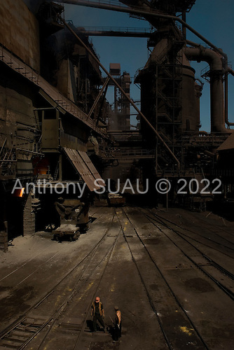 Mariupil, Ukraine.July 29, 2005..The coke ovens, built in 1933, at the steel factory ?Azovstal?. Today it has 20,000 workers and producing 5,000 tons of steel every day. It works 24/7 and exports to various countries. Many of the coke ovens are under repair and modernization in this factory.....